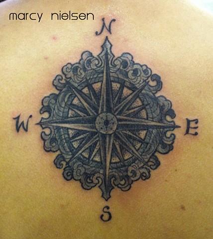 compass tattoo dot work