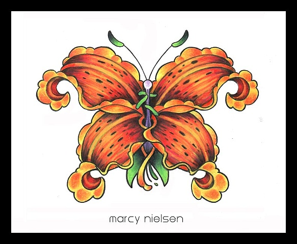 tiger lily butterfly tattoo