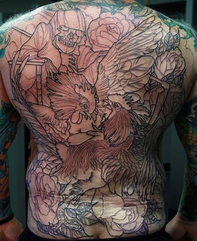 Cock fight Eric James tattoos
