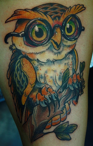 Owl, Eric James tattoo Phoenix Arizona art