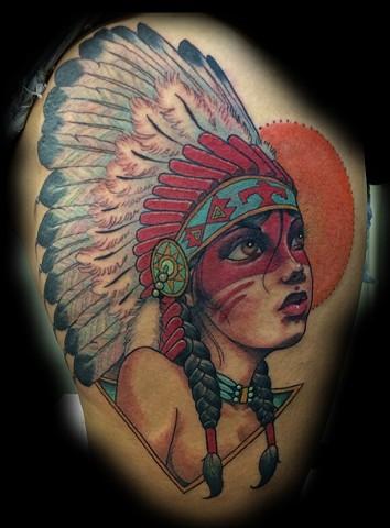 eric James tattoo, Phoenix Arizona tattoo art, indian girl tattoo, color tattoo, best tattoos