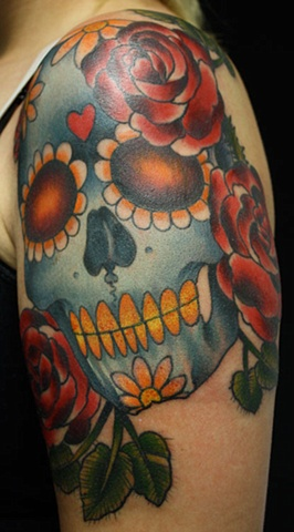 Day of the dead skull tattoo Eric James