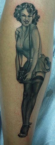 Pin up Eric James tattoo Phoenix Tattoo Company
