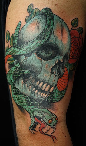skull with snake tattoo, Eric James tattoo
