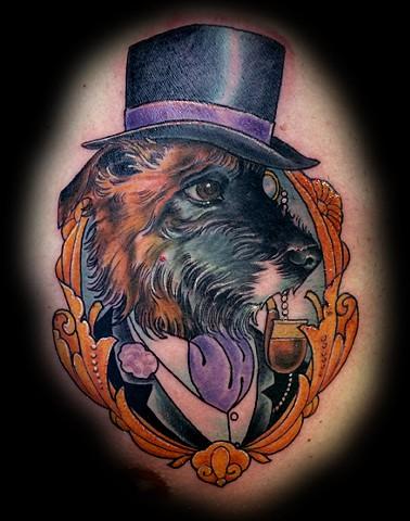 eric James tattoo, Phoenix Arizona tattoo art, dog tattoo, dog portrait tattoo, color tattoo, best tattoos