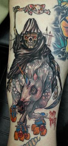 Grim reaper and unicorn Eric James