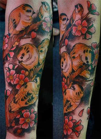 Birds Cherry blossoms tattoo Eric James tattoo