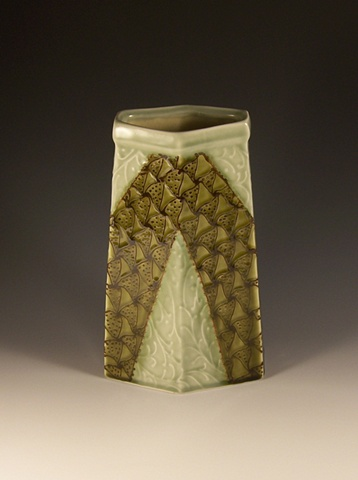 tall six sided vase