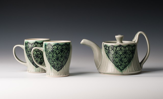 New Teapot and Slim Mugs, blue-green hex