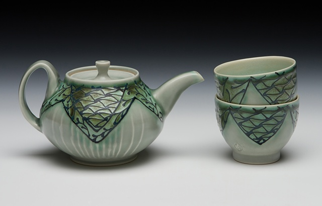 mini teapot with teabowls blue/green