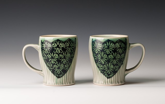 Slim Mugs, blue-green hex