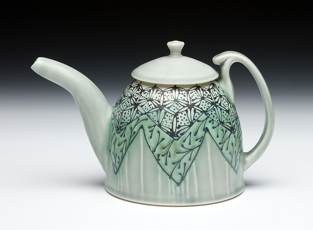 dome teapot blue green hex floral