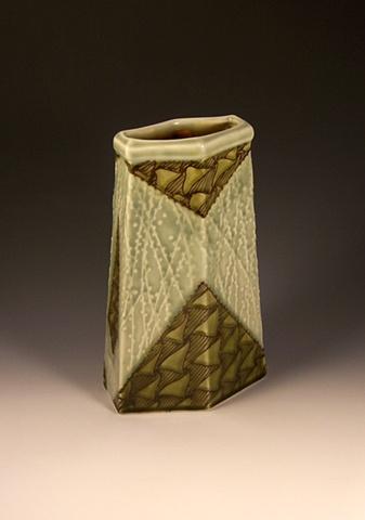 tall six-sided vase