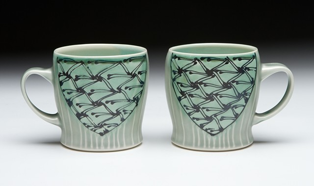 diner mugs blue green minoan