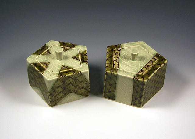 pair of pentagonal boxes with knobs