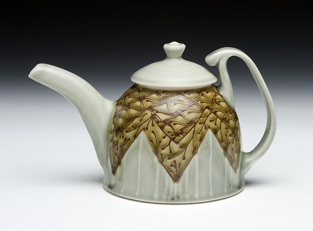 dome teapot avocado minoan floral