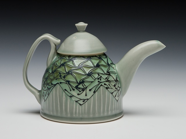 dome teapot blue green