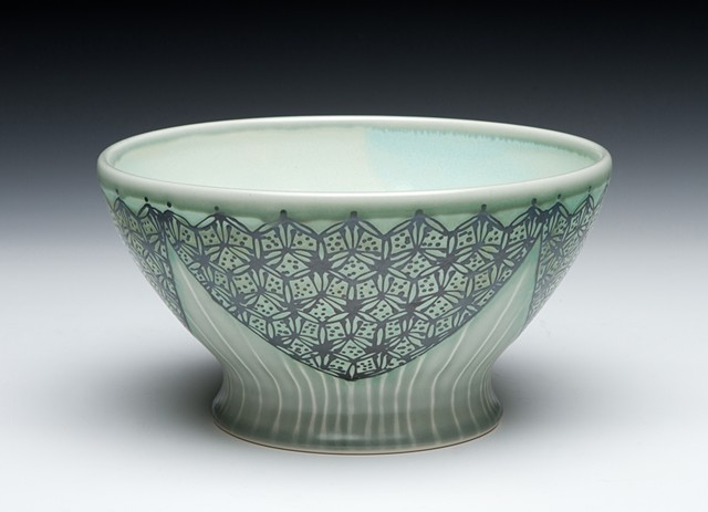 serving bowl blue green