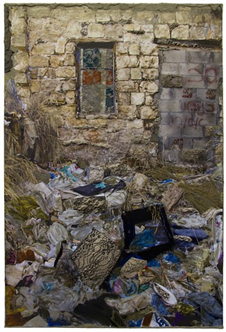 Wadi Salib: Interior Garden (window and trash)