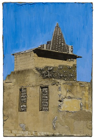 WS: Tower of Justice on a Ruined House (two houses with blue sky)
