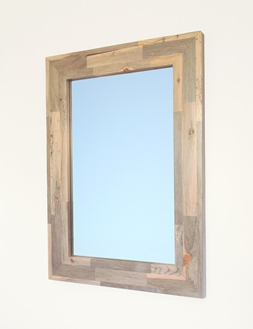 Modern wood mirror with blue pine frame handmade by Andrew Traub. Modern Blue pine furniture.