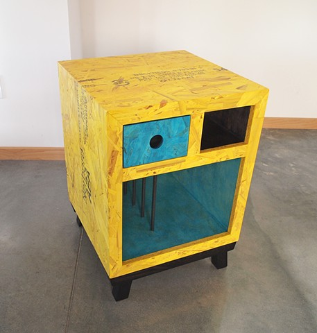 Modern OSB table with colored OSB, yellow and turquoise, bedside table.
