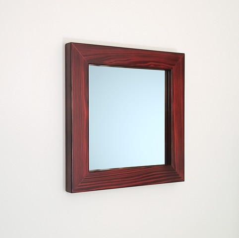 Modern charred wood mirror with wine colored stain, cypress wood shou sugi ban.