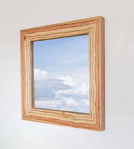 Engineered wood mirror frame made with LVL, designed and handmade by Andrew Traub