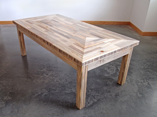 Modern beetle kill pine coffee table with end grain edging handmade by Andrew Traub