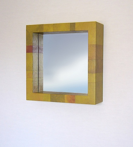 Deep Box Mirror with Tinted Paper Skin. Color: Lily Pad Modern Custom