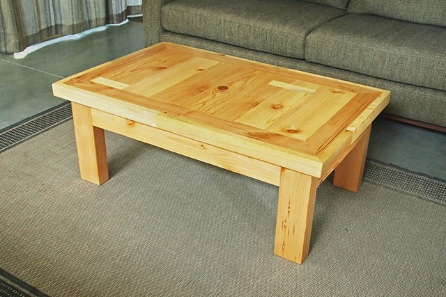 Salvaged wood coffee table made from reclaimed pine and fir, handmade by Andrew Traub.