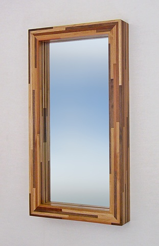 Handmade Wood Strip Deep Box Mirror