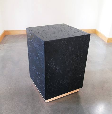 Modern OSB furniture stained black, pedestal table.