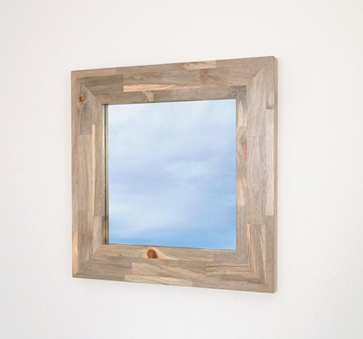 Beetle kill pine modern wood mirror, gray wood mirror, 24 inches square handmade by Andrew Traub. Modern blue pine furniture.