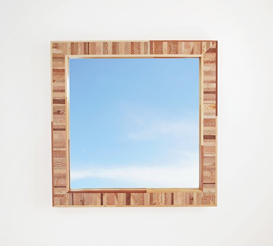 Modern wood mirror frame made from salvaged wood, handmade endgrain wooden frame by Andrew Traub, Andy Traub.