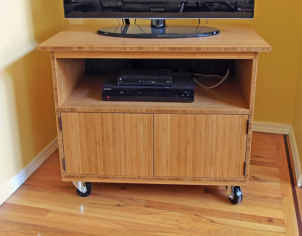 modern tv cart, bamboo plywood furniture, rolling tv cart
