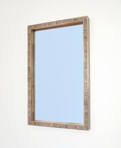 Modern gray wood mirror handmade with beetle kill blue pine; custom mirrors; end grain frame. Andrew Traub Studio