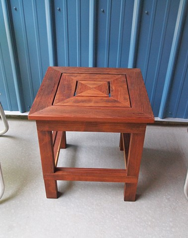 Salvaged redwood patio side table.