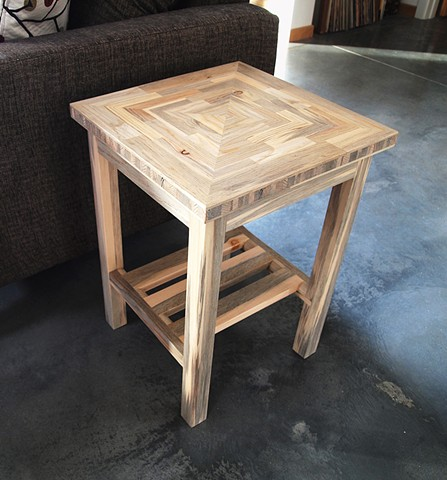 "End table chair side table made from beetle kill blue pine, 22"" high."