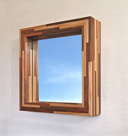 Modern wood mirror, handmade frame using sustainable materials, custom sizes by Andrew Traub, Andy Traub