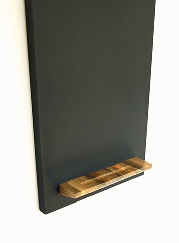 Modern blue pine tray on a hanging monolith chalkboard designed and handmade by Andrew Traub.