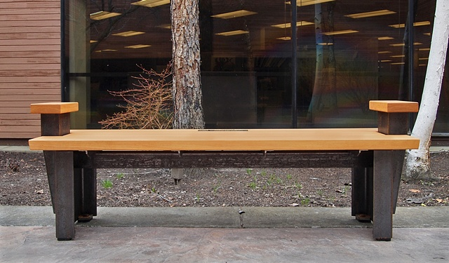 Modern idustrial outdoor bench made with heavy raw steel and cypress, a colaboration between Andrew Traub and Johnny Weld.
