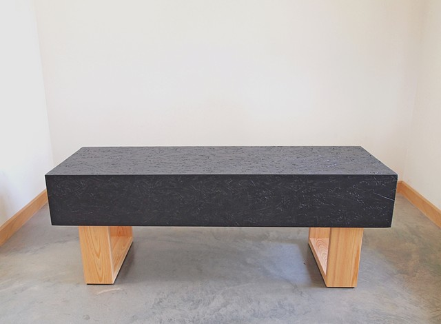 Modern OSB bench with cypress wood legs and black stained OSB.