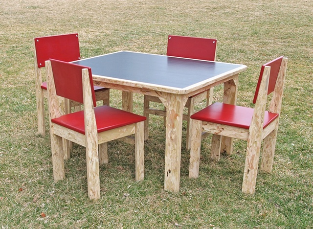 child's table and chairs, youth size, handmade timberstrand furniture