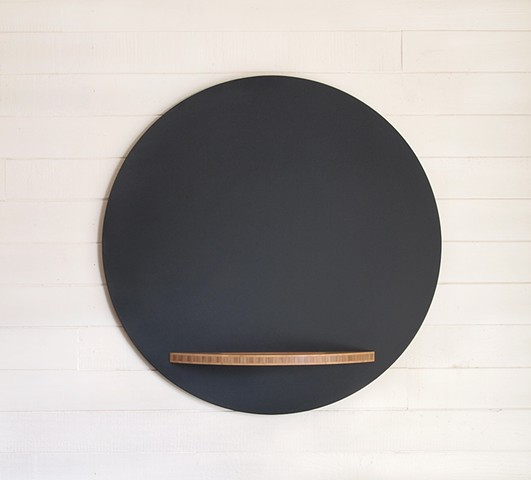 Handmade Modern Chalkboard Round with Bamboo Tray, chalkboard circle with tray, hanging chalkboard