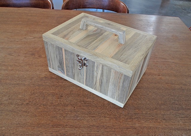 Wood craft box made from beetle kill blue pine.