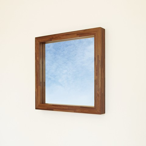 Modern walnut mirror, hanging wood mirror handmade by Andrew Traub