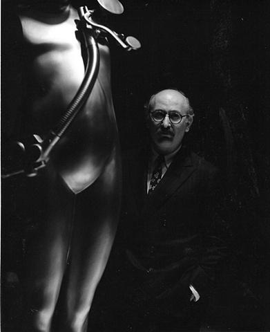 Trova with Study/Falling Man (Venice Landscape) circa 1967.