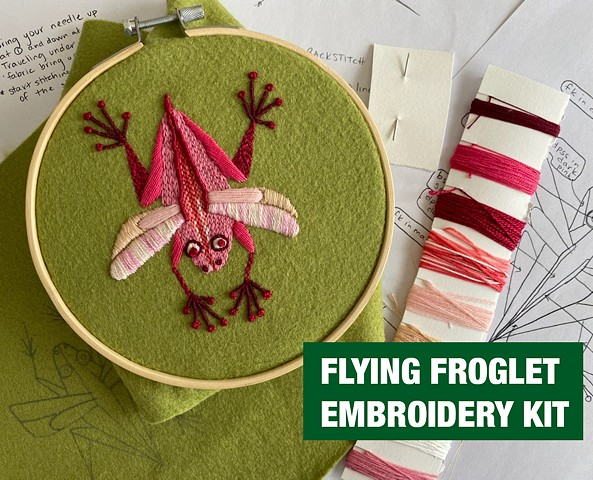 Flying Froglet Embroidery Kit