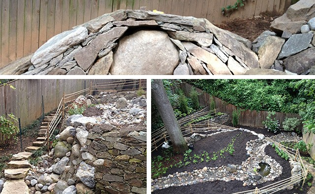 bona terra dc landscape design dry stream bed stone stairs retaining walls bamboo fencing